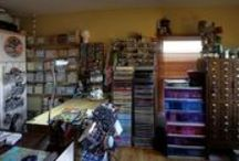 My Studio / My happy place - where paint, ink, paper, beads and canvas come together to play. It will never be 'one of those beautiful studios' but it is VERY functional -- and that is far more important to me and completely beautiful.