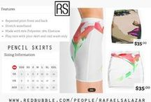 Skirts / $35.00 Art by Rafael Salazar - Copyright 2015 Rights reserved. Pencil Skirts are a canvas for your personality.   Repeated print front and back Stretch waistband Made with 82% Polyester, 18% Elastane Play nice with your skirt and cool wash only Sizes: XXSXSSMLXLXXL US2468101214 UK681012141618 AUS46810121416