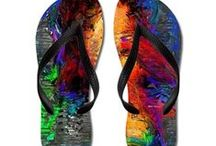Footwear / Art by Rafael Salazar Copyright 2015 Flip Flop Thong Sandals Sized from Kids to Adult Waterproof Rubber soles with matching comfort contoured straps Durable and smooth polyester print