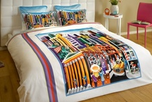 "Funky Duvet Set - New-York / Cotton sateen Funky duvet cover set featuring the painting ""My New-York"" by the artist Yuval Mahler / by ARTnBED"