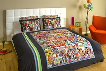 "Bohemian Duvet Set - Naive Art / Cotton sateen Bohemian duvet cover set featuring the painting ""The true colors of Hindley street"" by the artist Marie Jonsson-Harrison / by ARTnBED"