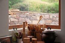 Home: Kitchens / Kitchen cabinetry; plywood kitchen; open shelves; architectural kitchens; kitchen tiles;