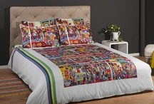 "Bohemian Duvet Set - Naive Art, White / Cotton sateen Bohemian duvet cover set featuring the painting ""The true colors of Hindley street"" by the artist Marie Jonsson-Harrison, white version / by ARTnBED"