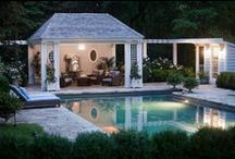 Pools, Patios, Porches & Gardens / Outdoor living: covered patios, outdoor fireplaces, backyard swimming pools, pool houses, and gardens / by Sharon Cross Hebert