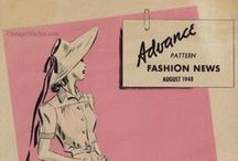 August 1940 Advance Pattern Fashion News / 1940s sewing pattern pamphlet from my collection.