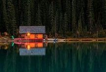 Cabins / Cozy, sweet, tiny, wooden, log, a-frame, in the woods, on the lake, on a beach, up a mountain. Cabins are the best. I want to live in one. / by Jessica Teas