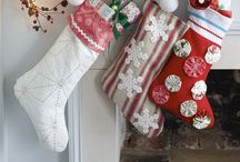 Christmas Stockings / Vintage, handmade, shabby chic, burlap, folk art, wool, felt, needlepoint, chenille, barkcloth ... All are welcome in this festive collection.