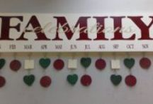 "Family Birthday Board / Personalized Family Birthday Board ~ $45 What an awesome way to keep track of family birthdays and anniversaries?! The sign itself is a 6""x24"" wood board with two hangers on the back for easy hanging on your wall. Each sign comes with your choice of 40 heart, square or circle tokens (also the option to combine shapes for a variety look!) to list birthdays or anniversaries for each month. Board and tokens are painted, and dates and names can either be blank or added for you. www.signchik.com / by SignChik- Family Birthday Boards & Yard Signs"