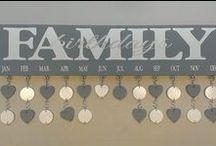 """Family Birthday Board / Personalized Family Birthday Board ~ $40 What an awesome way to keep track of family birthdays and anniversaries?! The sign itself is a 6""""x24"""" wood board with two hangers on the back for easy hanging on your wall. Each sign comes with your choice of 40 heart, square or circle tokens (also the option to combine shapes for a variety look!) to list birthdays or anniversaries for each month. pinterest.com/teampinterest / by SignChik- Family Birthday Boards & Yard Signs"""
