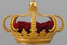 Historical Crowns and Regalia / Crowns and royal regalia, as well as non royal diadems and jewelled headwear of different cultures and eras.  Plus statuary and illustrations of such.  -For inspiration for me for future circlets-