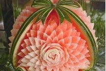 ART - Watermelon Carving / If anyone would like to see some extremely gorgeous watermelon carvings, you have to go to this site: http://watermelon-sculpture.com/CarvingGallery.html. I was unable to pin to Pinterest from that site. / by Debbie Dumont