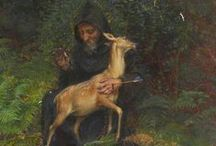 AEgidius...Saint Gilles.. / Greek hermit monk who traveled to southern France, whence a following ensued because of his healing abilities...later, St. Giles in Britannia....from which the surnames Gilles and Giles , amongst others sprang. / by Maria Uccella