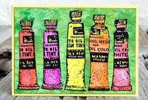 Artist Trading Cards / Artist Trading Cards created with Darkroom Door Rubber Stamps and paper products!
