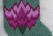 Needlepoint Club Projects / bargello needlepoint, quilt block needlepoint, stash busting needlepoint designed by needlepoint expert Janet M. Perry and available as part of 12-project needlepoint clubs.
