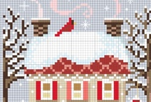 Charts - Houses & Buildings / Free charts of houses and buildings, using whole stitches that can be stitched in cross stitch, needlepoint, charted knitting, or beading.