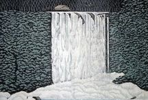 Japanese art - Rei Morimura / Woodcuts by contemporary artist Ray Morimura. These feature mostly landscapes and buildings.