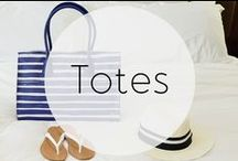 Totes / Summer totes in perforated cobalt blue, aqua, and bright prints.