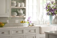 Kitchens / Beautiful (mostly white) Kitchens.   Kitchen Lighting Ideas.  My dream home kitchens. / by Kate, Chic on a Shoestring Decorating