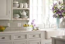 Kitchens / Beautiful (mostly white) Kitchens.   Kitchen Lighting Ideas.  My dream home kitchens.