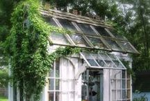 greenhouse garden shed ideas / Green houses made from recycled materials.