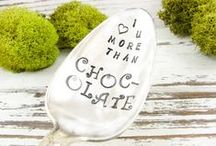 DAZZLING DEZIGNZ / Gorgeous vintage silverware is hand stamped with a variety of sayings. Choose from an array of ideas or create your own special keepsake.