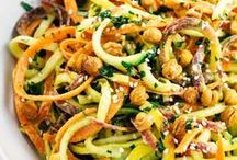 """Fresh Veggie Noodles & Rice / Recipes involving spiralized veggies like Sweet Potato """"Fettuccine"""", Butternut Squash """"Rotini"""", Cauliflower """"Rice"""", Kohlrabi """"Linguine"""", Cauliflower """"Fried Rice"""" Blend, Zucchini Noodles, and more. Vegetables that are cut using a spiralizer or a grater so that they resemble pasta. #Spiralized #CauliflowerRice #VeggieNoodles"""