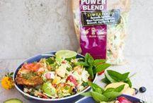 Veggie Slaw Blends / Recipes using Mann's Veggie Slaw Blends including Power Blend, Kale Beet Blend, Rainbow Salad and Broccoli Cole Slaw. #VeggieBlends