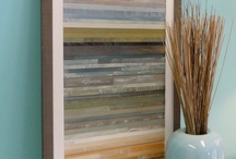 "Land-Sea-Sky Artwork / Our ""Land-Sea-Sky"" artwork features reclaimed and salvaged hardwood pieces assembled using environmentally friendly eco glue.  We then use non-toxic, organic milk paint with pure tung oil to achieve the changing colors of an ocean horizon."