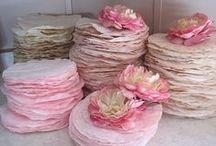 Flores de papel e pano