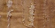 Prim and Folksy / Folk art and primitive, rustic arts and crafts; rustic embroidery; dipped in wax and rolled in cinnamon.