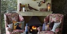 Design & Decor: Hearthside, Fireplace, Inglenook / Oh for a blustery day filled with crackling fire, howling winds, and a good, old fashioned ghost story. Comfy chairs and endless cups of tea a must!