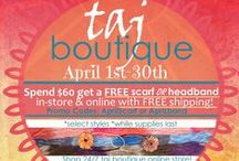 Boutique Online Store / Items are available to purchase at taj Boutiques online store!! Www.tajsalonspa.com