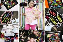 """Neon Inspired Birthday Party / Eccentric Designs by: Latisha Horton Neon or 80's """"inspired"""" party theme is sure to make a memorable celebration! This full color/high-resolution digital party has you covered from A to Z!   Items available for this theme include:   Invitation   Thank You Note   Cupcake Wrappers   Cupcake Toppers   Placecards   Popcorn Box/Snack Box   Favor Bag Stickers/Labels   Water Bottle Labels   Hershey Bar Wrappers   For Additional Inquiries: eccentricdesignstudio@live.com"""