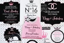 """Coco Chanel Inspired Party/Celebration / Eccentric Designs by: Latisha Horton Coco Chanel """"inspired"""" party theme is sure to bring a smile to your little one(s) face. This full color/high-resolution digital party has you covered from A to Z! Items available for this theme include: Invitation   Thank You Note   Cupcake Wrappers   Cupcake Toppers   Placecards   Popcorn Box/Snack Box   Favor Bag Stickers/Labels   Water Bottle Labels   Hershey Bar Wrappers   For Additional Inquiries: eccentricdesignstudio@live.com"""
