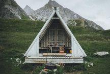 A-frame house & Log cabin