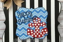 Holiday: Summer Fourth of July Memorial Day Patriotic / Holiday, Fourth of July, July 4th, Summer, Beach, Memorial Day, Patriotic, Military, Door Hanger, Door Decoration / by Jennifer Dougherty