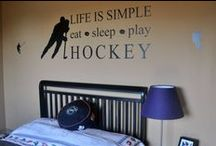 Hockey Themed Room / Hockey Wall Decor for boys rooms.  Hockey Goalie Canvas, Hockey stick wall hooks, personalize, hockey growth chart, single wall hooks, and wood sign quotes, wall decals.