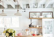 Dream Kitchen / The gorgeous and functional kitchen that only exists in my dreams with open shelving, a farmhouse sink, and a huge kitchen island.