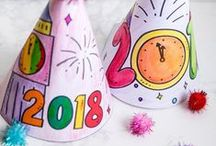 New Year's Ideas for Kids / Kids Crafts for New Year's Eve, New Year's Activities, Clock ideas, snack, glasses, party favors