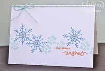 Christmas cards - one layer / These one layer Christmas cards, made with Stampin' Up products, are easy to post and mostly quick to make!
