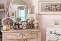 Shabby Chic/Country Rooms / I have always loved shabby chic and country styles. But also love art deco and have a glass fetish as accessories. I enjoy whites, creams, light pinks and pale yellows and blues. I also love silver as opposed to brass and love natural woods. / by Carolyn Hyatt