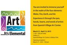 ART...ITS ELEMENTAL / Spanish Village Art Center is excited to announce it's All Member Show celebrating 80 years in Balboa Park.  While SCIENCE helps us recognize and measure smaller and smaller parts our world, ART reminds us of our emotional connection to our experience with the four basic elements - Earth, Water, Fire, and Air. Gallery 21 will be transformed into a black and white tableau of the four elements to show case the artists' colorful interpretation of the elements.
