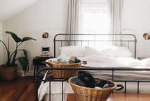 the bedroom / a room furnished with beds or used for sleeping