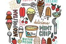 Ice cream / Idéias para parede sorveteria Maria Helena
