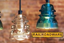 Upcycled Telegraph Insulator Lighting / Industrial & railroad inspired upcycled lighting using glass steel and Insulators a good eye and some special tools.