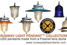 The Runway Light Pendant ™ Collection / Runway Light Pendant Collection ™ LED 120V 6W, 580 Lumens. 12V LED & custom configurations available. Achieve a rustic, industrial or a modern look that people will notice and appreciate the optical performance & origin.  RunwayLights™ are made from industrial parts called landing lights, or guidance lighting at airports, airfield and airstrips. They can be seen at railroad crossings & Railroad bridges...