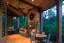 outdoor living kitchen and fire places / I love the out doors would like to have an outside kitchen. I love to grill and love having good freinds over. / by Teah Siegel