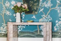 Wallcoverings / Paint colors, Wallpaper, Textiles, Cabinetry, Custom Built Ins and Shelving.