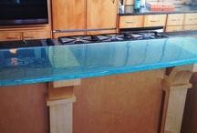 Glass Countertops / Cast glass countertops & Flat glass countertops