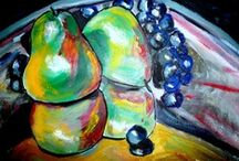 Food Art Paintings / Original oil paintings of fruit and other food....perfect to enhance the beauty and excitement of your kitchen!
